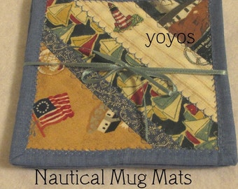 NAUTICAL, MUG MATS, Set of Four, Summer, Beach, Home Décor, Hostess Gift, Vacation, Americana, July Fourth