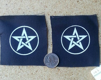 2 Patches - Wicca Pentacle Pagan Witchcraft Pentagram