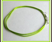 14 to 24 inch Lime Green, Satinique Necklace Cord, Lime Green Necklace, LIme Green Cord, Lobster Clasp Pendant Cord, Charm Cord, Custom