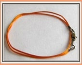 14 to 24 inch Orange Satinique Necklace Cord, Orange Satin Necklace Cord, Lobster Clasp,  Lt Weight Pendants, Charm cord, Custom