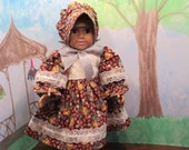 Cotton knee length dress and bonnet for an 18 inch (American Girl sized) doll.