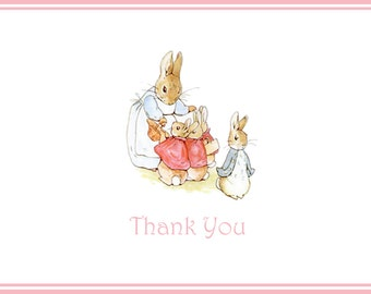 Mama and Bunnies Baby Shower Thank You Notes