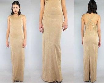Vtg 90s Gold Metallic Glam Nude Minimal Supermodel Maxi Dress S