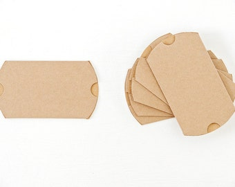 60 Medium Kraft Pillow Boxes 3.5x3x1 for Wedding Favors, Jewelry, Soaps, Gift Cards and More