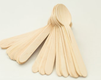 100 Disposable Wooden Spoons – Eco-Friendly Spoons for Ice Cream