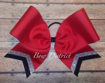"""3"""" Red Team Cheer Softball Volleyball Bow with Silver and Black Glitter Tail Stripes"""