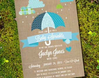 Shabby Chic Sprinkle Baby Shower Invitation - Cloud Baby Shower - Boy Baby Shower - Instant Download and Edit with Adobe Reader
