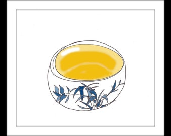 """Digitally Coloured Illustration: """"Tea Ceremony"""" - Pen and ink blind contour drawing of tea served in a cup with bamboo on the front. A4"""