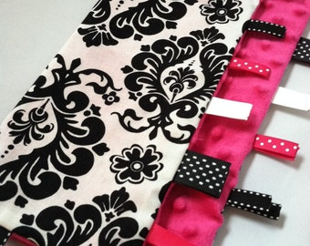 Lovey Ribbon Sensory Blanket...Hot Pink Minky and Damask...Can be Personalized...No Loops...Shower Chic