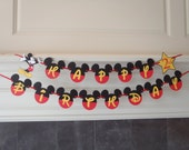 Mickey Mouse Birthday Banner Yellow Fancy Font with Age and Custom Name Option by FeistyFarmersWife