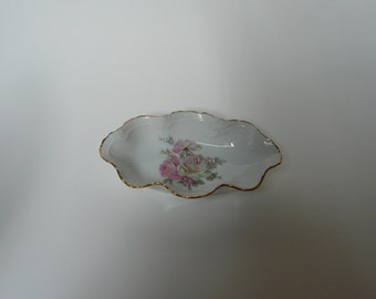 Vintage Limoges Rehausse Main French scallop edged dish hand finished floral motif