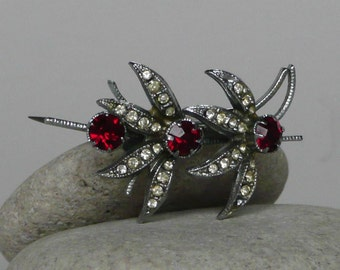 Unusual Vintage brooch with ruby and white glass