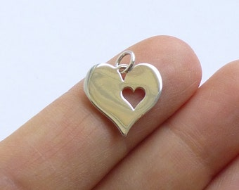 Sterling Silver Cut Out Heart Pendant  -- 1 Piece