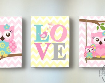Owl Theme Baby Girl Nursery Art Set of Three Canvas Art Prints - Personalized Chevron Owl  - Baby Girl Nursery Art, Kids Wall Art