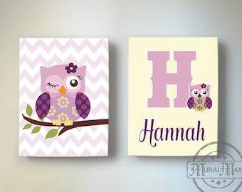 Personalized Owl Nursery Decor Toddler Girls Room Art Owl Nursery Wall Art Canvas Art Set - Match with Plum Owl Meadow Nursery