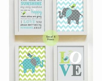 Baby Boy Room Nursery Print, Kids Wall Art Elephant Nursery Decor, Baby Nursery Decor You Are my Sunshine , Love Elephant