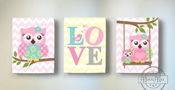 Canvas Prints For Baby Room owl theme baby girl nursery art set of three canvas art prints