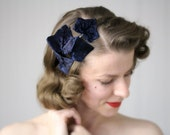 "Navy Hair Accessory, Dark Blue Headband, Leaves Headpiece, 1950s Fascinator, Vintage Ivy Leaf Hairpiece - ""Kissed by Midnight"""