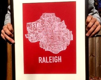 "Raleigh, North Carolina Neighborhood Screen Print Map (19""x12.5"")"
