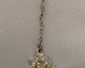 Vintage Avon Peridot & Clear Crystal Flower Drop Pendant/Necklace
