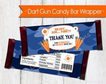 Blue Camo Dart Gun Candy Bar Wrapper - Instant Download