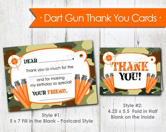 Dart Gun with Green Camo Thank You Cards - Instant Download