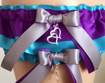 Turquoise and Purple Wedding Garter Set, Bridal Garter Set, Keepsake Garter, Prom Garter, Weddings, Garters