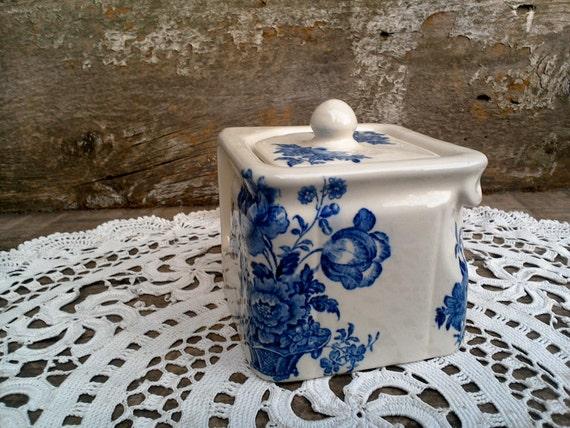 Blue Square Tea Pot Charlotte Burleigh Burslem Ironstone