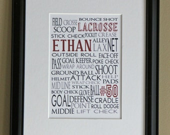 Personalized Sports Print- Lacrosse