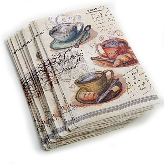 Paris Coffee Decoupage Paper Napkins Steaming Cups Of Coffee