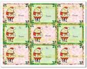 Jolly Mr. Santa Cat 9 Gift Tags in Red and Green Instant Digital Download