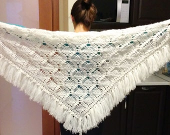 Cream triangle scarf shawl - mohair and acrylic unique handmade crochet