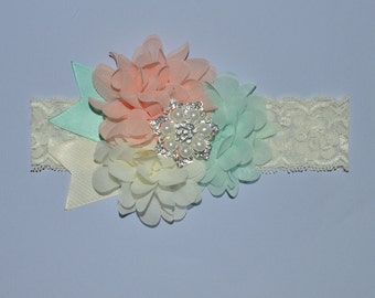 Ivory Mint Peach Chiffon Flower Boutique Headband Baby Toddler Headband Flower Girl New Years Glitter Lace Ostrich Feathers