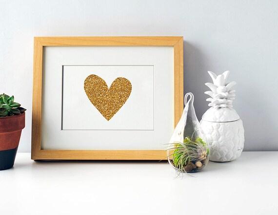 Etsy Gold Wall Decor : Gold heart print printable wall art glitter love