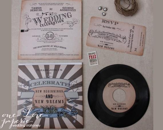Target Wedding Invitations Kits: Custom 7in Vinyl Record Wedding Invitation / 45 Rpm Wedding