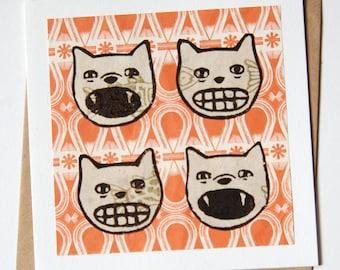 Ravilious Cats Blank Handmade Card
