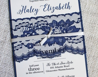 Lace Wedding Invitations, Navy Wedding Invitations, Sample. Elegant Wedding Invitations  Modern Elegant. Wedding Stationary.