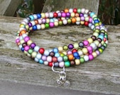 Multi coloured miracle bead wrap bracelet/necklace with thai silver charms