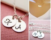 TWO Initial Necklace - Tiny silver initial necklace - mothers necklace - grandma necklace - hand stamped initials - childrens initials