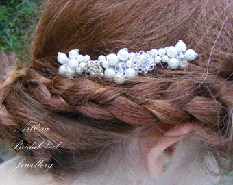 Bridal head piece, bridal veil comb, hair ornament, beads, glass crystals, off white, ivory