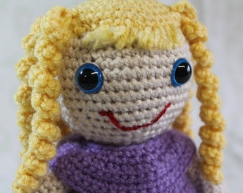 Yellow Curly Hair Girl Doll, Crochet Amigurumi Plushie, Original Soft Toy, Sweet Girl Doll in Lavender Dress, Ready to Ship Now