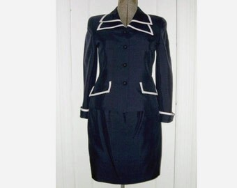 Vintage 100% Silk Shantung Navy Blue Skirt Suit Miss 4P Morgan Taylor 2-Piece Dress