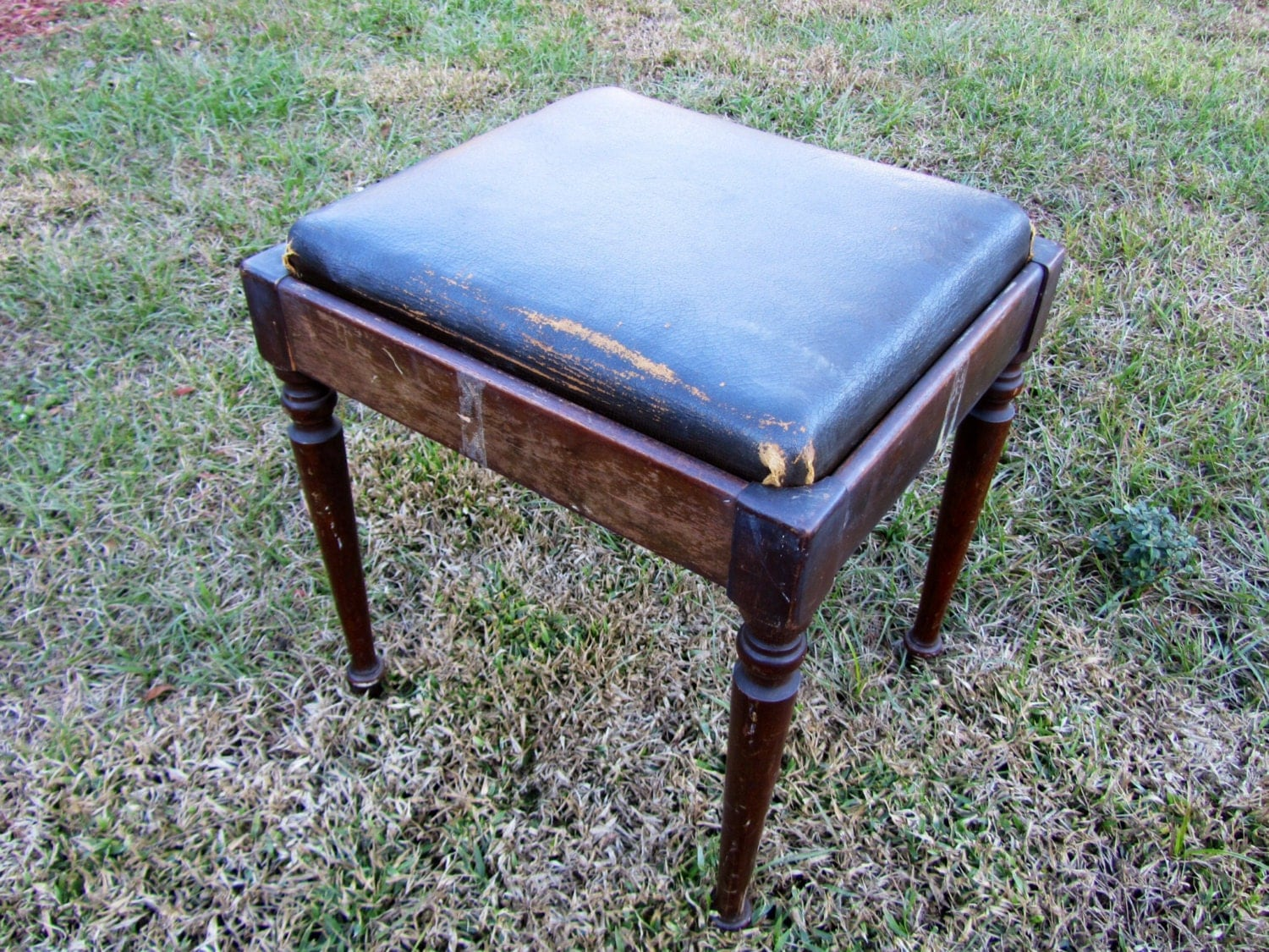 Leather Seat Piano Bench Vintage Piano Bench Wood Piano