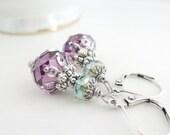 RESERVED for Maureen Amethyst Purple Earrings Sparkling Swarovski Crystal Dangles Sea Green Purple Lavender Earrings Vintage Silver Patina