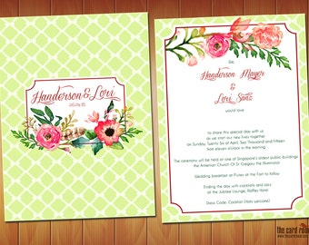 Garden theme Floral Wedding Invite in Green & Red - Printables