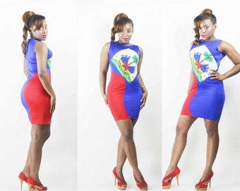 Custom Haiti Flag Stretch Dress Haitian Bodycon Club Dress Haitian Flag Day Outfit Mini Dress