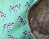 "29x37"" Tiny Zebra in Mint Cotton with Light Grey Minky Dimple Dot Blanket Gender Neutral Ready to Ship"