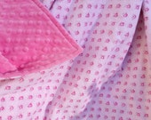 29x35 Vintage Inspired Tanya Whelan Rose Trellis in Pink 100% Cotton with Pink Minky Dimple Dot Blanket Ready to Ship