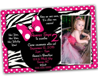 Minnie Mouse Invitation, Minnie Mouse Birthday, Pink Minnie Mouse invitations, Minnie Mouse party, Zebra