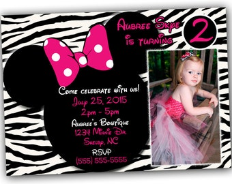Minnie Mouse Invitations, Minnie Mouse Birthday, Pink Minnie Mouse invitations, Minnie Mouse party, or Minnie Mouse Thank you card, Zebra